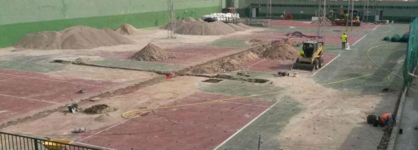 transformación pista de hormigón poroso a tierra batida Celabasa