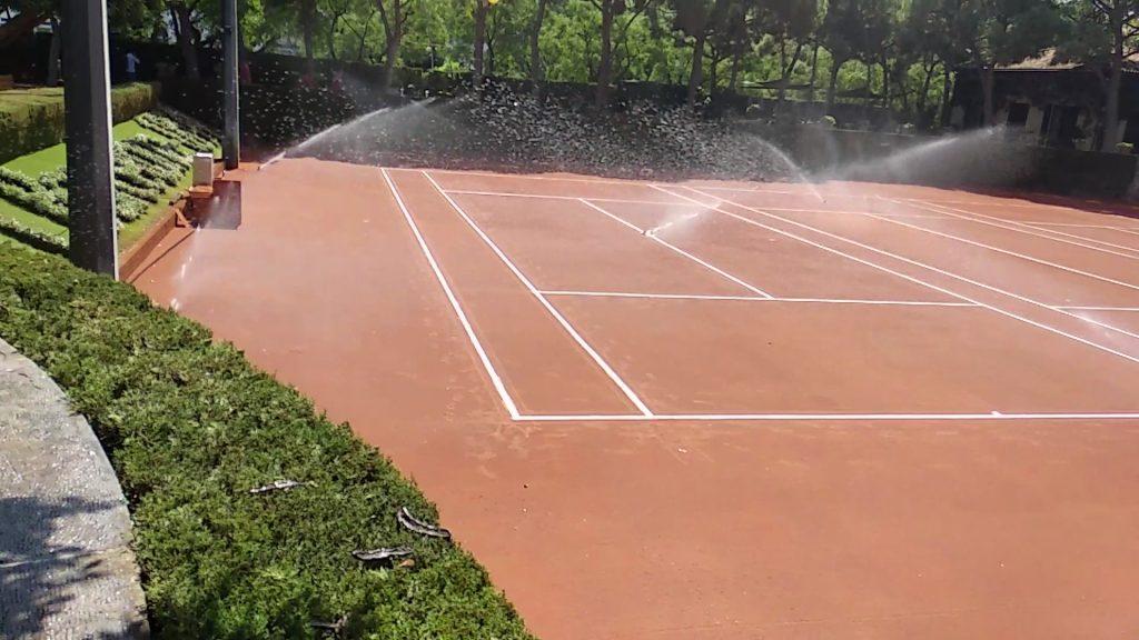 riego aspersion pistas real club tenis barcelona