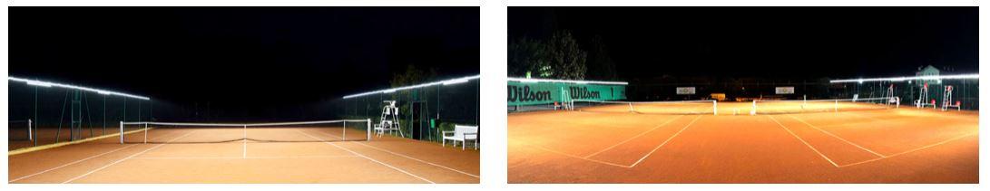 nuevo sistema iluminación led pistas tenis sin columnnas